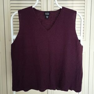 Eileen Fisher Loose Knit Eggplant color Blouse M